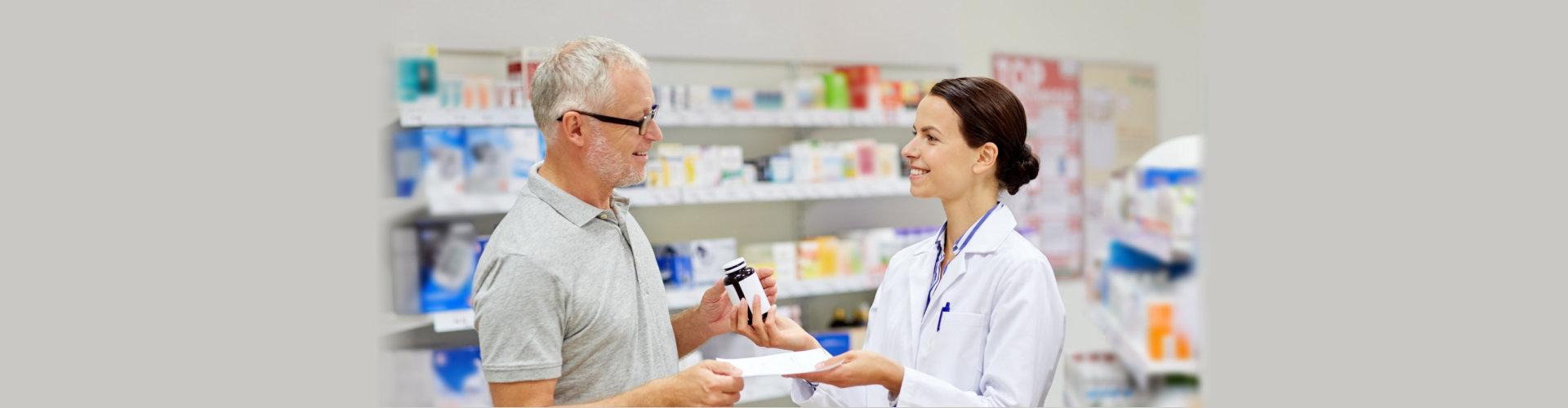 male patient buying medicine